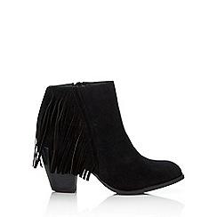 Wallis - Black tassle ankle boot