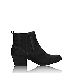 Wallis - Black pointed western ankle boot