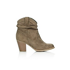 Wallis - Taupe cowboy style ankle boot