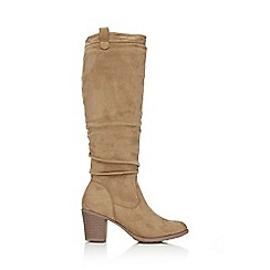Wallis - Taupe flat knee high boot