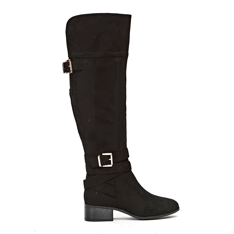 7bb1e2da35c Wallis - Black Double Buckle Over The Knee Boots