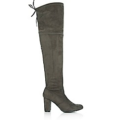 Wallis - Grey lace up knee high boot