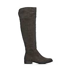Wallis - Grey flat over the knee boot
