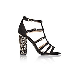 Wallis - Black caged glitter sandal