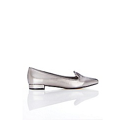 Wallis - Silver Pointed Loafer Shoe