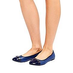 Wallis - Navy trim ballerina shoes