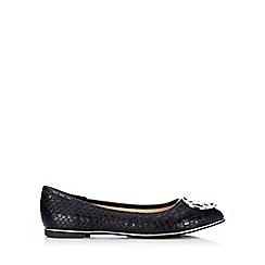 Wallis - Black snake print ballerina shoe