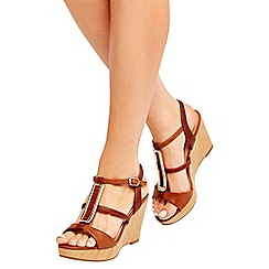 Wallis - Tan wedge sandals