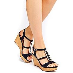 Wallis - Navy wedge sandals