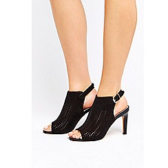 Wallis - Black patent peep toe heeled sandals