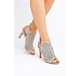 Wallis - Grey patent peep toe heel sandals