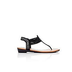 Wallis - Black embellished flat sandals