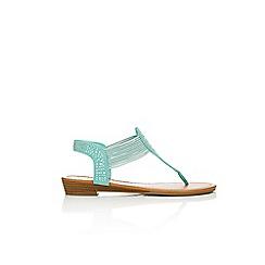 Wallis - Turquoise embellished flat sandals