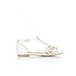 Wallis - White laser peep toe sandals