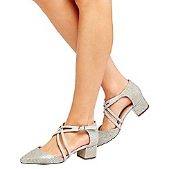 Wallis - Grey cross strap court shoes