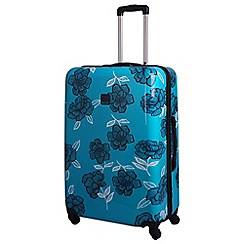 Tripp - Turquoise/navy 'Express Bloom Hard' 4 wheel large suitcase