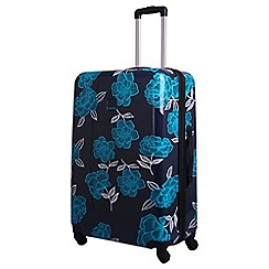 Tripp - Navy/turquoise 'Express Bloom Hard' 4 wheel large suitcase