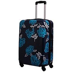 Tripp - Navy/turquoise 'Express Bloom Hard' 4 wheel medium suitcase