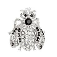 Jet and crystal silver bug brooch