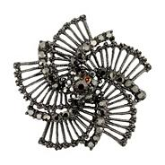 Hematite flower brooch