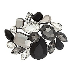 Betty Jackson.Black - Designer jet cluster stone brooch