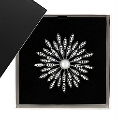 Betty Jackson.Black - Great value designer pearl and crystal flower burst brooch