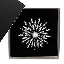 Betty Jackson.Black - Great value designer pearl and crystal flower burst brooch
