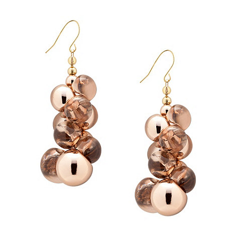 Betty Jackson.Black - Rose gold and glass ball cluster drop earring