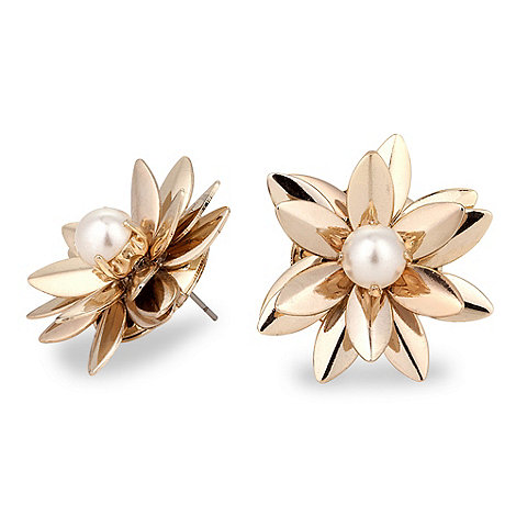 Betty Jackson.Black - Designer 3-d daisy flower stud earring