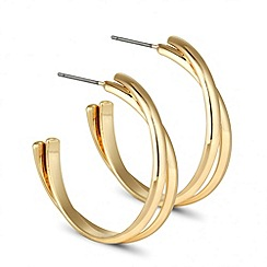 Betty Jackson.Black - Designer gold twisted hoop earring