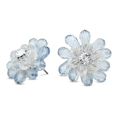 Betty Jackson.Black Designer 3-d blue flower earring - . -