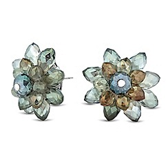 Betty Jackson.Black - Designer green crystal flower stud earring