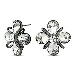 Betty Jackson.Black - Designer 3d crystal flower stud earring