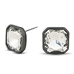 Betty Jackson.Black - Designer crystal square hematite stud earring