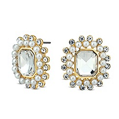 Betty Jackson.Black - Designer baguette pearl and crystal surround earring