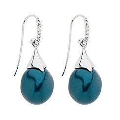 Betty Jackson.Black - Designer crystal stick and teal pearl drop earring