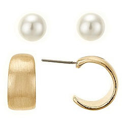 Betty Jackson.Black - Brushed hoop and pearl earring pack