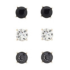 Betty Jackson.Black - Designer set of three round stud earrings