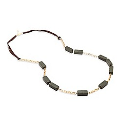 Betty Jackson.Black - Rectangular marble green resin long necklace