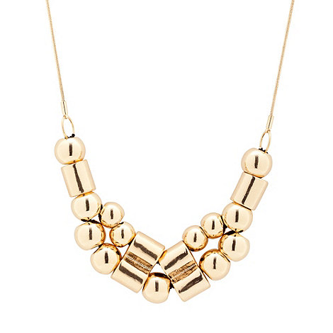Betty Jackson.Black - Gold metal tube and ball cluster necklace
