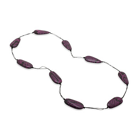 Betty Jackson.Black - Marbelised purple snake print ball necklace