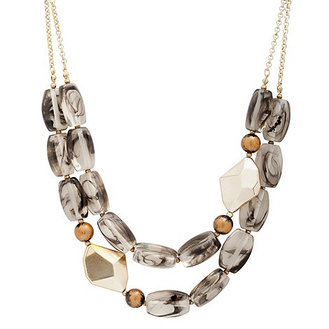 Betty Jackson.Black - Smokey brown and gold abstract bead double row necklace