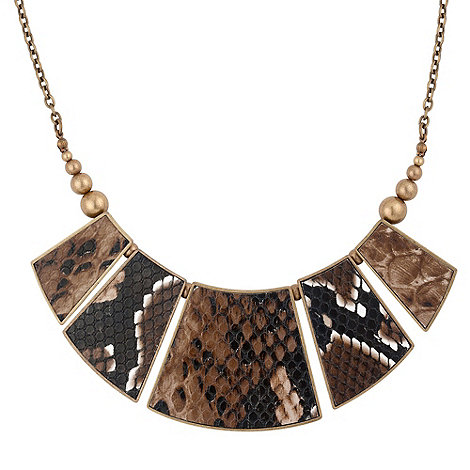 Betty Jackson.Black - Animal print brown faux leather panelled necklace