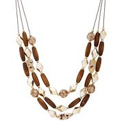 Tribal wood and retro bead illusion necklace