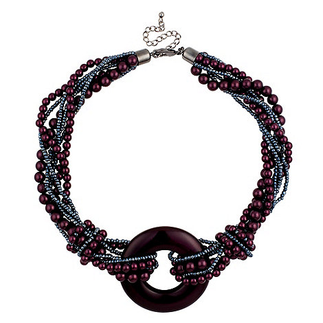 Betty Jackson.Black - Mixed purple pearl and disc pendant necklace