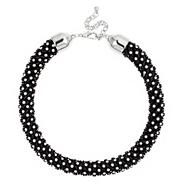 Crystal wrapped black collar necklace