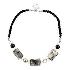 Betty Jackson.Black - Marbleized effect multi block black cord necklace