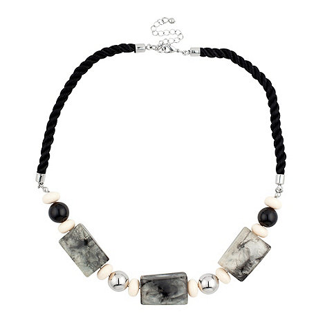 Betty Jackson.Black - Marbleized effect multi block black cord necklace