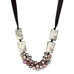 Betty Jackson.Black - Purple pearl cluster black ribbon tie necklace