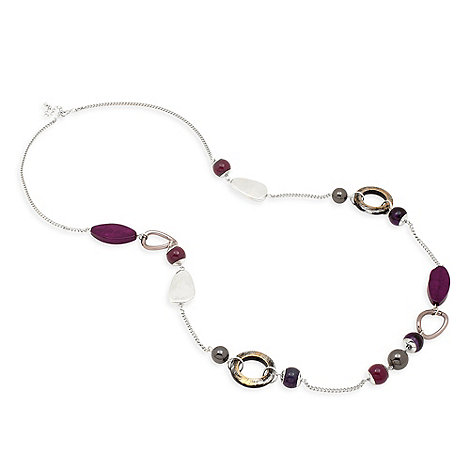 Betty Jackson.Black - Long purple resin bead and disc rope necklace